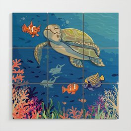 Under the Sea and Above the Coral Wood Wall Art