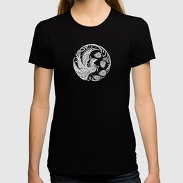 Traditional White and Black Chinese Phoenix Circle T-shirt