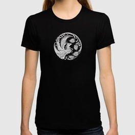 Traditional White and Black Chinese Phoenix Circle T-shirt