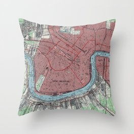 Vintage Map of New Orleans Louisiana (1954) Throw Pillow