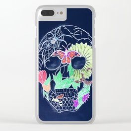 Chalk Art Skull Clear iPhone Case