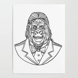 Gorilla Wearing Tuxedo Bust Monoline Poster