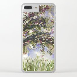 Springtime Fairy Tree watercolor by CheyAnne Sexton Clear iPhone Case