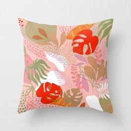 Tropical Foliage Pattern 2 - Orange & pink Boho Throw Pillow