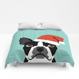Xmas Boston Terrier Santa Hat funny dog gift for dog lover terrier owner boston terrier cute puppy  Comforters