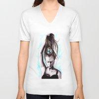 rapunzel V-neck T-shirts featuring Rapunzel  by Bella Harris