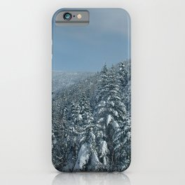 Image USA Stowe Vermont Mount Mansfield Winter Spruce Nature Snow forest Forests iPhone Case