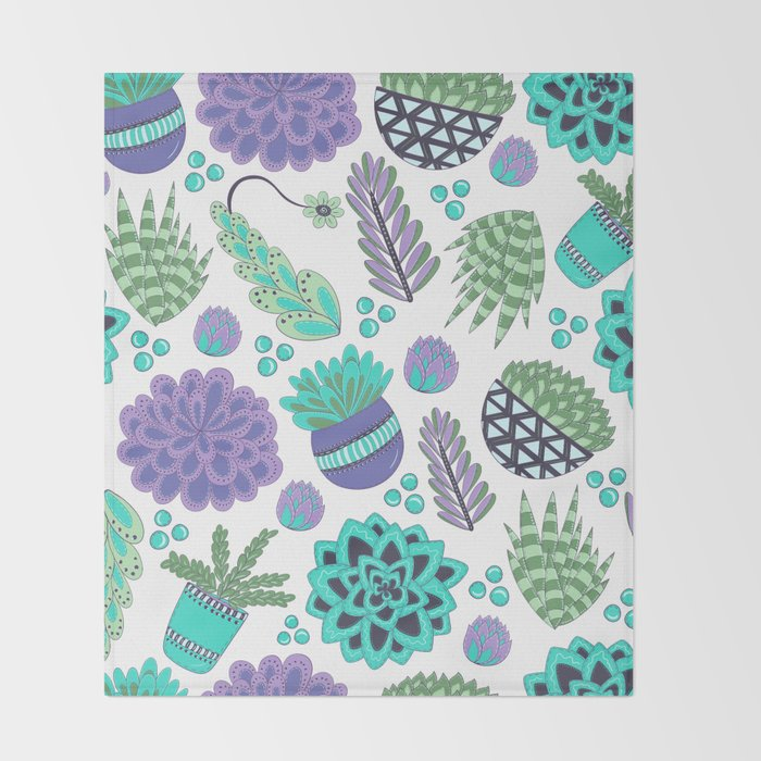 Succulents Pattern Throw Blanket