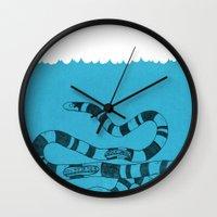 snake Wall Clocks featuring Snake by David Penela