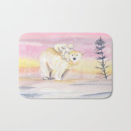 Polar Bear Family Bath Mat