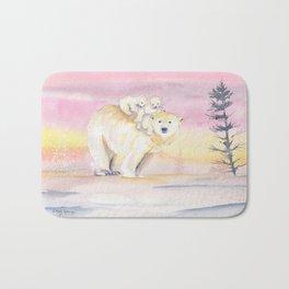 Polar Bear Family Bath Mat