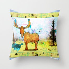 Blue Moose on the Loose ~Ginkelmier Throw Pillow