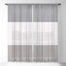 Tricolor Stripes- Taupe, White, Gray Sheer Curtain