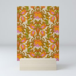 Orange, Pink Flowers and Green Leaves 1960s Retro Vintage Pattern Mini Art Print
