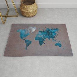 world map 104 blue #worldmap #map Rug