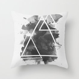 Splashed Triangles Throw Pillow