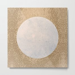 Avalon - Minimal Abstract Golden Moon Metal Print