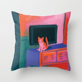 Cat in front of TV Throw Pillow