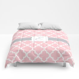 """Baby Pink Geometric Pattern with Silver """"E"""" Monogram Comforters"""