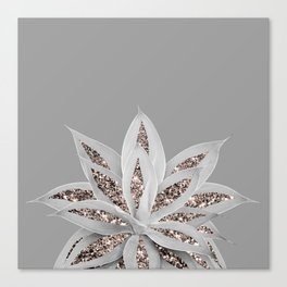 Gray Agave with Rose Gold Glitter #1 #shiny #tropical #decor #art #society6 Canvas Print