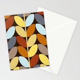 Retro 70s Color Palette Leaf Pattern Stationery Cards