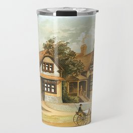 Vintage Victorian Houses illustration, Horse Carriage, Two People with Tennis Rackets Travel Mug