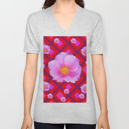 Red Pattern Wild Pink Roses & Pink Roses Abstract Unisex V-Neck