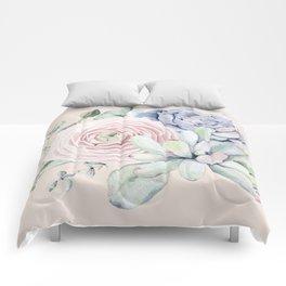Pretty Pink Succulents Garden Comforters