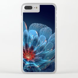 3D Blue Flower V2 Clear iPhone Case