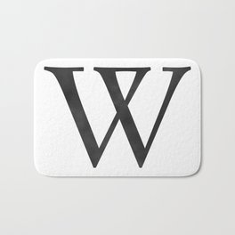 Letter W Initial Monogram Black and White Bath Mat