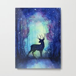 Reindeer in Magical Forest Metal Print