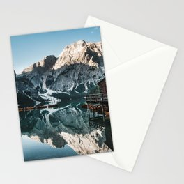 Sunrise at lake Braies in the Italian Dolomites Stationery Cards