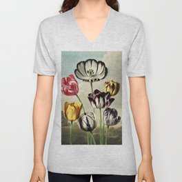 Tulips : Temple of Flora of New Illustration of the Sexual System Unisex V-Neck