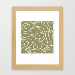 Doodle Line Art | White Lines on Khaki/Olive Green Framed Art Print