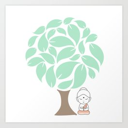 Little Buddha meditating under a tree Art Print