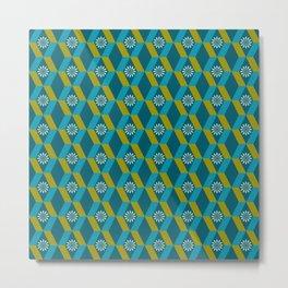 Mid Century Modern Flowers Optical Illusion Dark Teal Turquoise and Marigold Metal Print