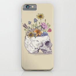 Half Skull Flowers iPhone Case