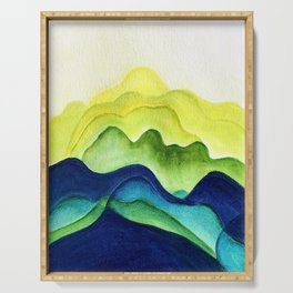 Abstract in Yellow, Green and Blue Serving Tray