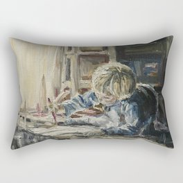 Young artist Print Original Oil Painting On Canvas Cozy Home Rectangular Pillow