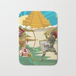 european knight fighting an aztec warrior in the jungle Bath Mat