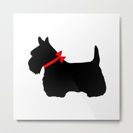 Scottie Dog with Red Bow Metal Print