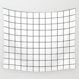 Grid Pattern Stripes Lines Black and White Minimalist Geometric Stripe Line Wall Tapestry