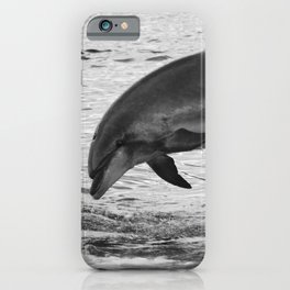 Jumping wild bottlenose dolphin black and white iPhone Case