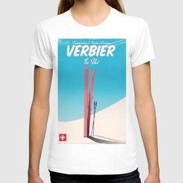 Verbier Switzerland vintage ski poster T-shirt