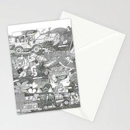 Païsatge amb personatges, bicicleta, cotxos, monstre, cap i palmeres Stationery Cards