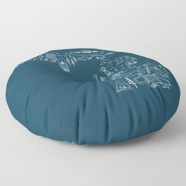 Michigan Up North Navy Collage Floor Pillow