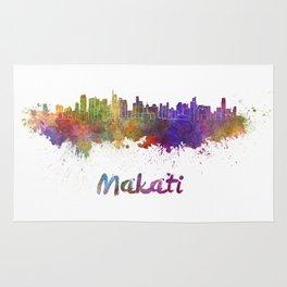 Makati skyline in watercolor Rug