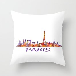 París City Skyline HQ Watercolor Throw Pillow