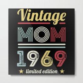 Vintage Mom 1969 60th Birthday Gift Women Retro Metal Print