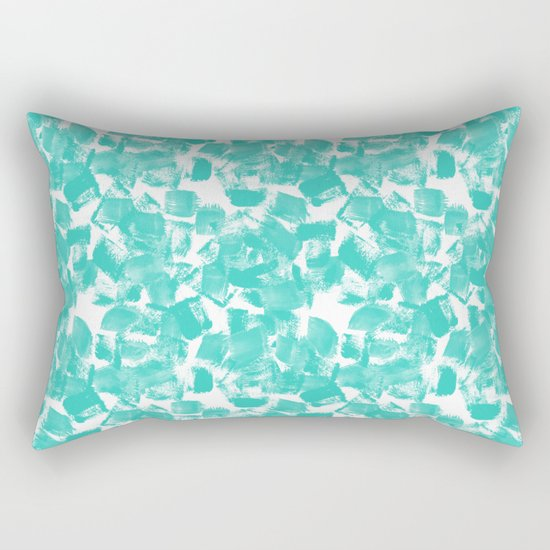 Brushy aqua bright happy brushstrokes painting abstract minimal modern dorm college decor art Rectangular Pillow